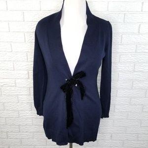 Talbots Merino Velvet Tie Cardigan MP Navy Blue